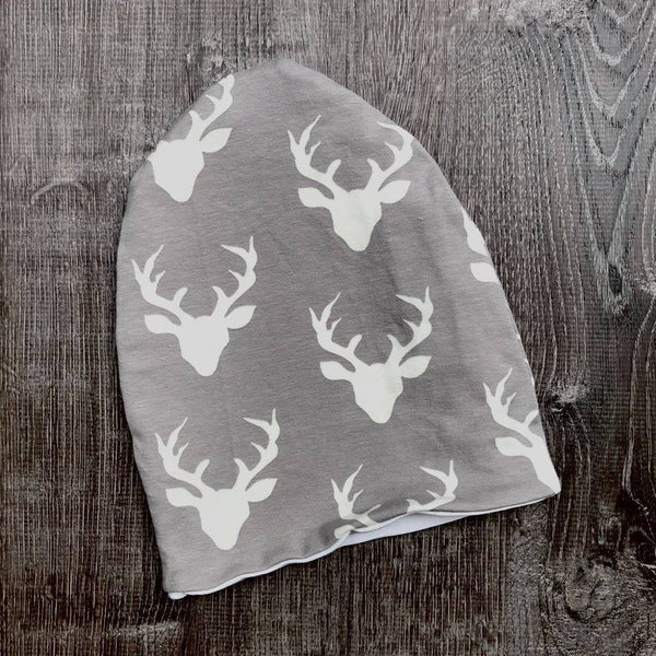 Light Grey Buck & Ivory Liner Beanie