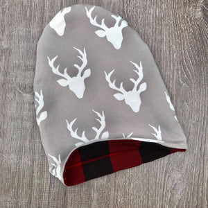 Light Grey Buck & Red Plaid Liner Beanie