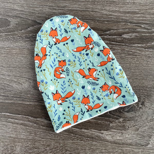 Fun Foxes & Ivory or Navy Lining  Beanie