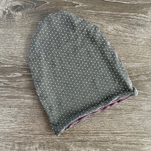 "Dark Grey Dotty & Mauve Liner ""All Bamboo"" Beanie"