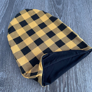 "Mustard Buffalo Plaid & Black Liner ""All Bamboo"" Beanie"