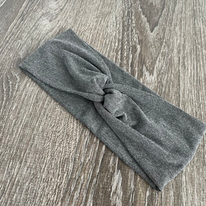 Dark Grey Heather Twist Headband