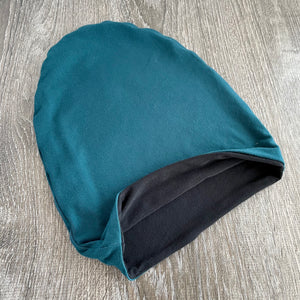 "Teal & Black Liner ""All Bamboo"" Beanie"