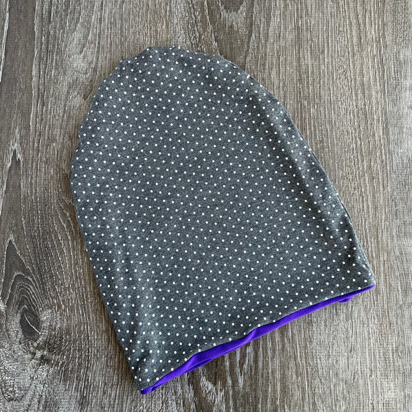 "Dark Grey Dotty & Violet Liner ""All Bamboo"" Beanie"