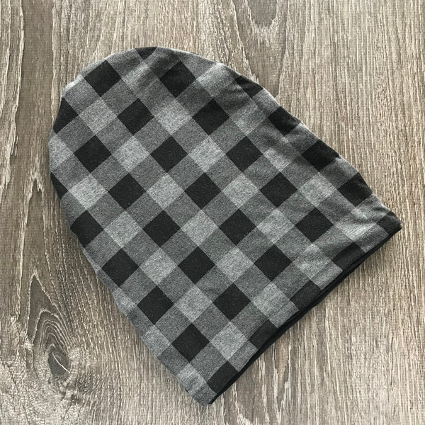 "Heather Grey Buffalo Plaid & Black Liner ""All Bamboo"" Beanie"