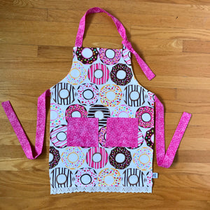 Pink Donut & Lace Trim Children's Aprons