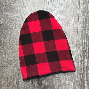 "Red Buffalo Plaid & Black Liner ""All Bamboo"" Beanie"