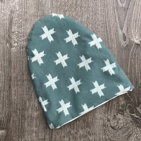 Green Cross & Ivory Liner Beanie