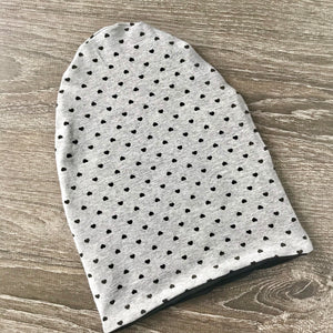 Black Hearts & Grey Liner Beanie