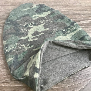 Distressed Camo & Grey Lining Beanie