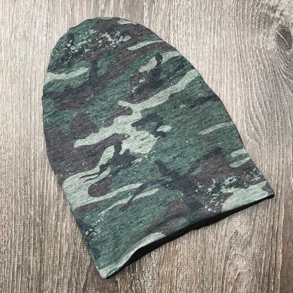 Distressed Camo & Black Lining Beanie