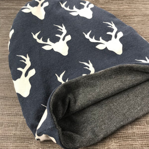 Navy Buck & Grey Liner Beanie