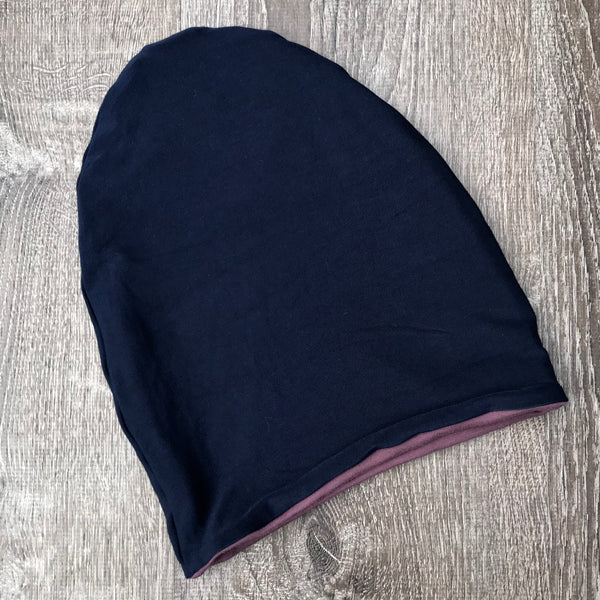 Navy & Purple Liner Beanie