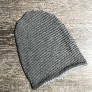 "Dark Grey Ribbed & Light Grey Liner ""All Bamboo"" Beanie"