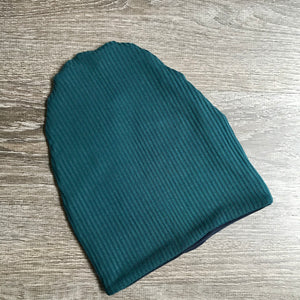 "Teal Ribbed & Navy Liner ""All Bamboo""  Beanie"