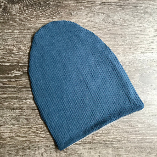 "Denim Ribbed & Light Grey Liner  ""All Bamboo"" Beanie"