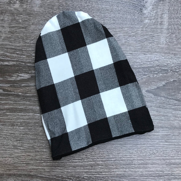 "Black Buffalo Plaid & Black Liner ""All Bamboo"" Beanie"