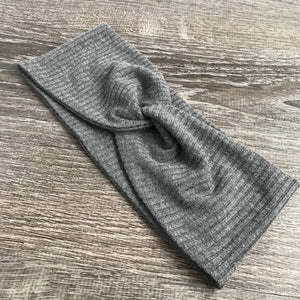 Grey Ribbed Twist Headband