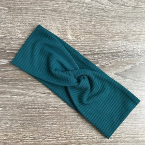 Teal Ribbed Twist Headband