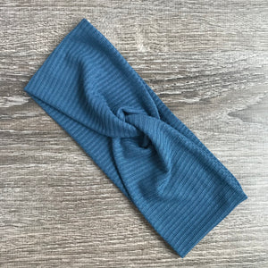 Denim Ribbed Twist Headband