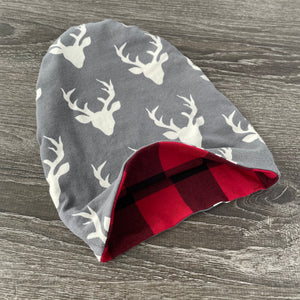 Dark Grey Buck & Red Buffalo Plaid Liner Beanie