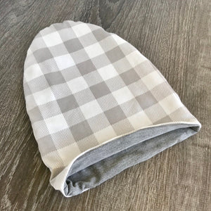 Grey Plaid & Light Grey  Lining  Beanie