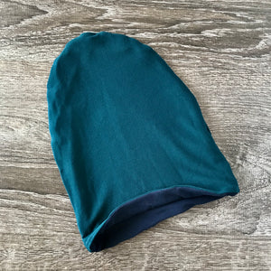 "Teal & Navy Liner ""All Bamboo"" Beanie"