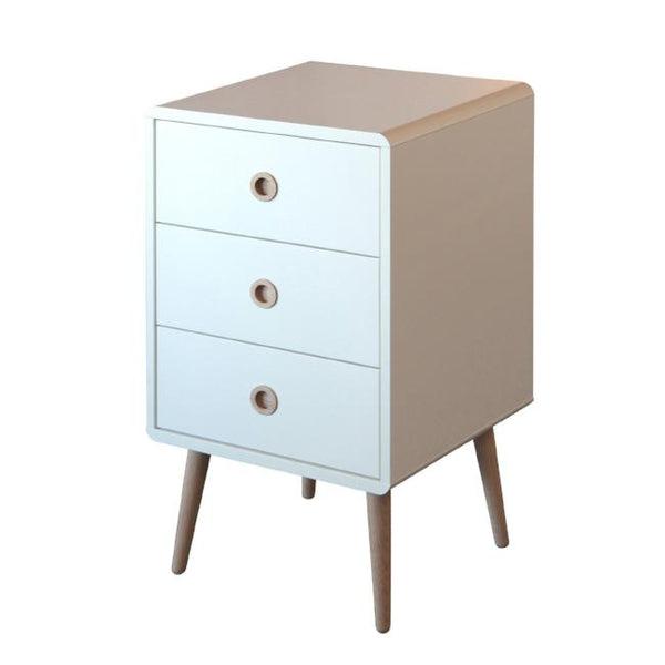 White Scandinavian Retro 3 Drawer Bedside Cabinet - 1