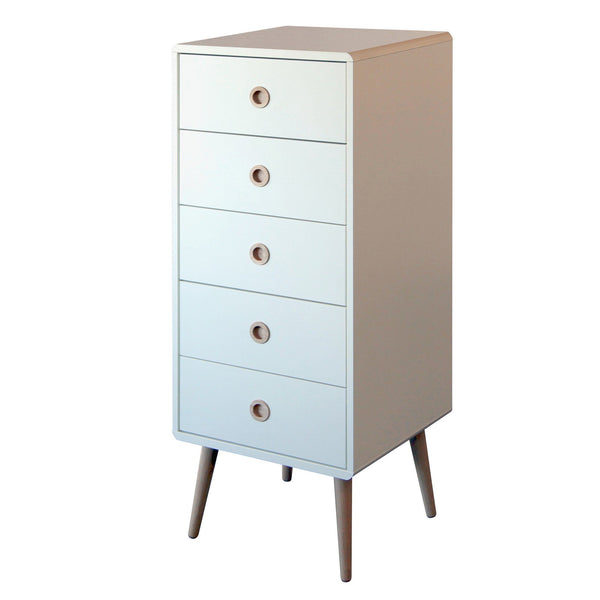 White Scandinavian Retro 5 Drawer Narrow Chest - 1