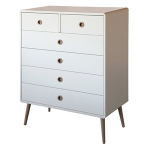 White Scandinavian Retro 2+4 Drawer Wide Chest