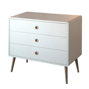 White Scandinavian Retro 3 Drawer Wide Chest