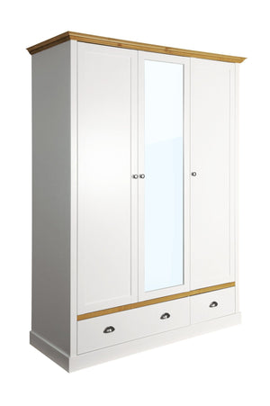 Sandringham White 3 Door 2 Drawer Mirrored Wardrobe