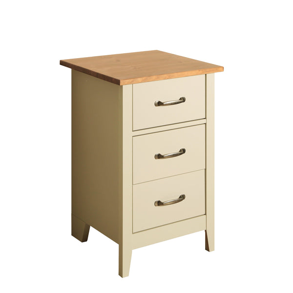 Norfolk Cream and Oak 3 Drawer Bedside Cabinet