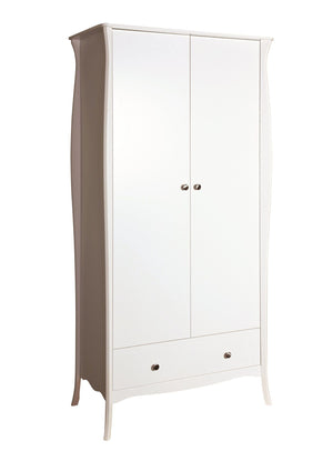 Baroque White 2 Door 1 Drawer Double Wardrobe