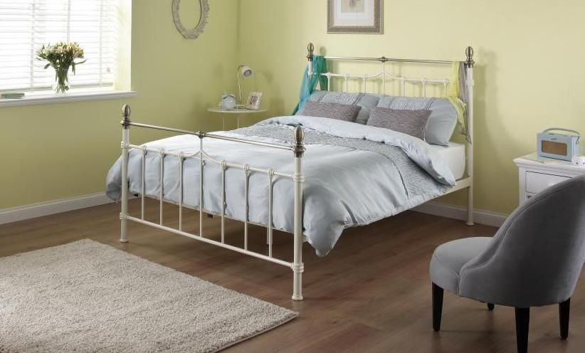 Cadot Luxury Victorian Inspired Cream Metal Bed Bb Furniture Store