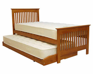 3ft Single Juno Oak Bed & Trundle with (Optional) Mattresses