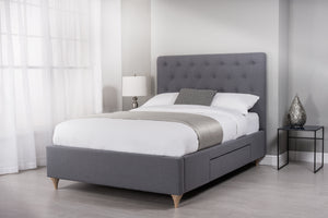 Cadot Grey Mist Upholstered Bed with Storage