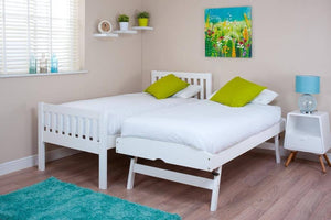 3ft Single White Bed & Trundle Guest Bed with Mattresses