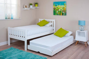 3ft Single White Bed & Trundle with (Optional) Mattresses