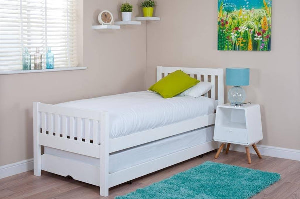 3' Single White Bed and Trundle Guest Bed with (Optional) Mattresses - 1