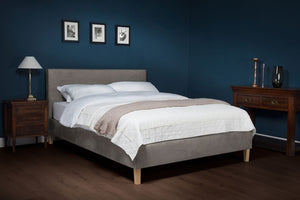 Cadot Charlotte Luxury Upholstered Grey Fabric Bed