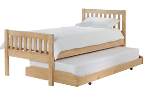 3ft Single Pine Bed & Trundle Bed with Mattresses