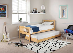 3ft Single Pine Bed & Trundle with (Optional) Mattresses
