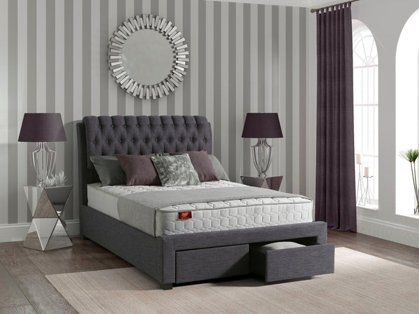 Lowton Upholstered Grey Fabric Storage Bed Frame - 1