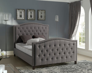 Marcell Elegant Studded Upholstered Fabric Bed