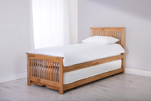 3ft Single Duet Oak Bed & Trundle with (Optional) Mattresses