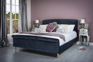 Cadot Midnight Blue Upholstered Bed Frame