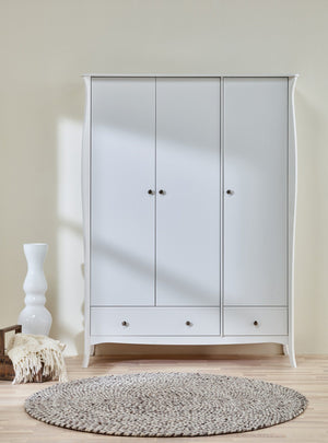 Baroque White 3 Door 3 Drawer Triple Wardrobe - 1
