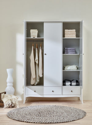 Baroque White 3 Door 3 Drawer Triple Wardrobe