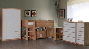 Seville 3+2 Drawer Chest in Oak and White High Gloss